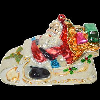2 Large Vintage German Mercury Glass Christmas Ornaments Santa in Sleigh & Santa