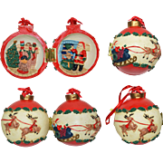 Lot 2: 12 Vintage Santa Christmas Ornaments Assorted Years & Sizes