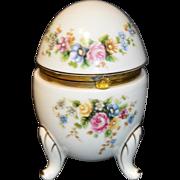 "Vintage Napco Napcoware Hand Painted Egg w/Hinged Lid Trinket Box 5"" Tall C9354"