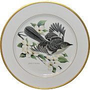 Hutschenreuther Bird Plate Mockingbird Limited Edition Gold Rimmed Germany