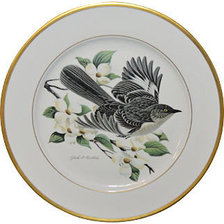 Hutschenreuther Germany Mockingbird Limited Edition Gold Rimmed Bird Plate