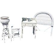 Vintage White Wicker Bedroom Set Twin Headboard/Nightstand/Vanity & Plant Stand