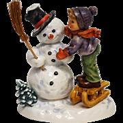 "Hummel #2002 'Making New Friends' 6.75"" 1996 TMK-7 Boy Snowman Sled"