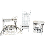 1910s-1920s White Wicker Rocking Chair/Tea Cart/Table Outdoor Furniture Set Vintage