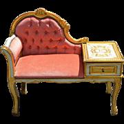 Vintage Gilded French Provincial Telephone Table Pink Tufted Velvet Gilt