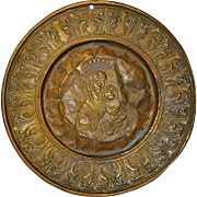 18th Century Embossed Venetian Christian Almoner Brass Wall Plate