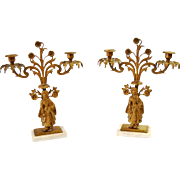 "Pair 19th Century French Gilt Bronze Candelabras Candle Holders, marble bases 16""x12.5"""