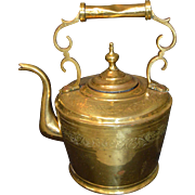 "Vintage Large Brass Gooseneck Tea/Water Kettle w/Intricate Designs, 12"" Tall"