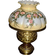 Vintage Oil Kerosene Converted to Electric Lamp with Painted Roses on Milk Glass Shade