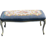 Vintage French Louis XV Style French Tapestry Bench Coffee Table Ottoman