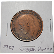 1927 English Penny Good Condition Crisp Letters