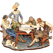 """Lladro """"Playing Cards"""" Poker Style Figurine Signed 24""""x20"""" 1976"""
