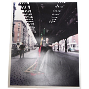 "William Helburn 1956 ""Dior Dovima Under the El"" Photograph Signed Inverse Limited"