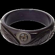 Vintage Brown Carved Bakelite Bangle Bracelet
