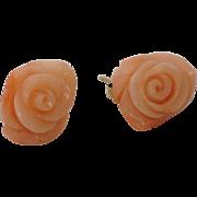 Vintage Carved Angel Skin Coral Rose Stud Earrings
