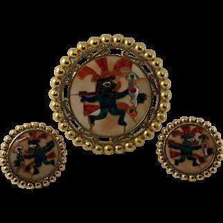Vintage 18k Aztec/Mayan Multi Color Inlay Pendant/Pin & Earring Set Yellow Gold