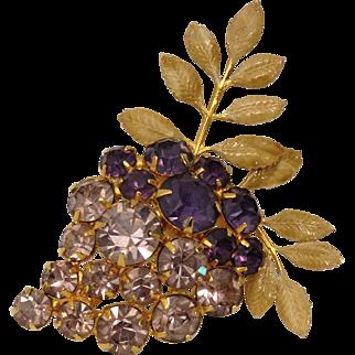 Vintage HOBE Costume Grape Bunch Brooch