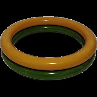 Vintage Bakelite Bangle Bracelet Set Green & Butterscotch