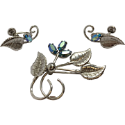 Vintage Sorrento Sterling Pin/Brooch & Earring Set With Aurora Borealis
