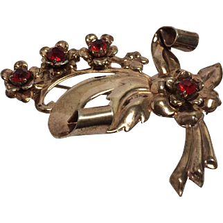 Vintage Sterling Floral Rose Gold Plated and Rhinestone Pin/Brooch