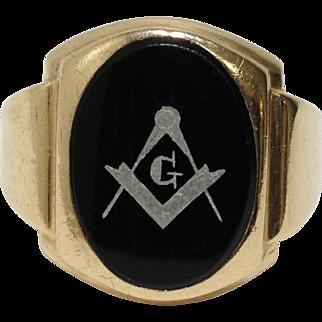 10k Black Onyx Mason Masonic Ring Size 9.5 Yellow Gold