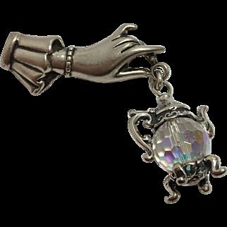 Sterling Hand & Aurora Borealis Teapot Pin/Brooch