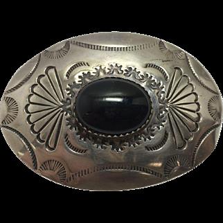 Vintage Sterling Navajo & Black Onyx Pendant, Pin/Brooch