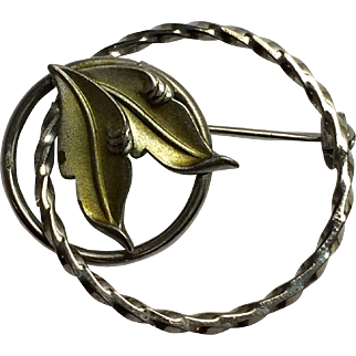 Vintage Roma Sterling Green Leaf and Circle Pin/Brooch