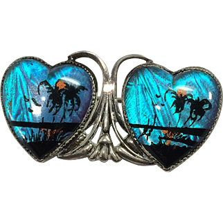 Vintage Hoffman Sterling Butterfly Wing Tropic Double Heart Pin/Brooch