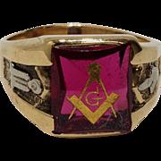 10k Ruby Red Mason Masonic Ring Size 10.5 Yellow Gold