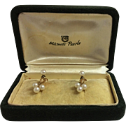 Vintage 14k Yellow Gold Mikimoto Pearl Clip on Screw Back Earrings With Original Box