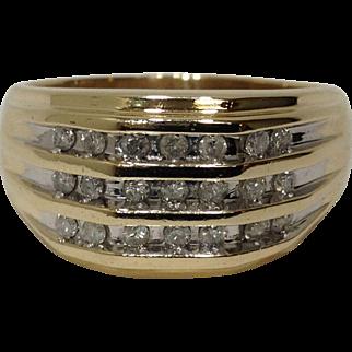 Estate 10K Gold Men's Diamond Ring Size 13 Yellow Gold