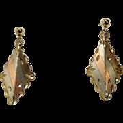 14k Black Hills Gold Dangle Earrings Tricolor Gold
