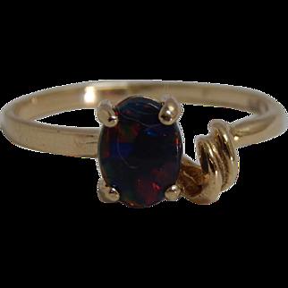 10k Yellow Gold Chatham Black Opal Ring Size 5.5