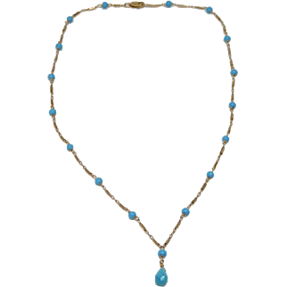 14k Yellow Gold Turquoise Blue Bead Teardrop Necklace