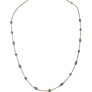 14k Two Tone Gold Diamond Necklace