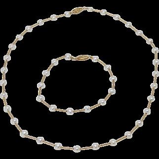 14k Yellow Gold Cultured Pearl Necklace & Bracelet Set