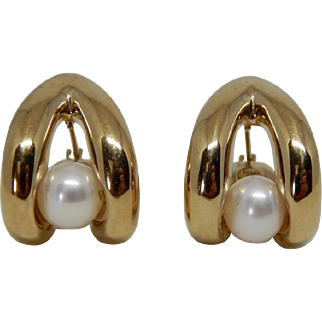 14k Yellow Gold Israel Cultured Pearl Modified Hoop Earrings