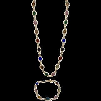 14k Yellow Gold Egyptian Multi Colored Scarab Necklace & Bracelet Set