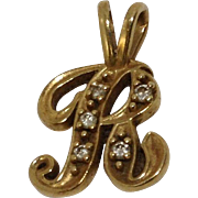 14k Initial R Diamond Charm / Pendant Yellow Gold