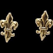 14k Fleur De Lea Stud Earrings Yellow Gold