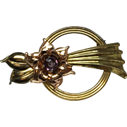 1950's Harry Iskin Flower Gold Filled & Purple Rhinestone Pin/Brooch