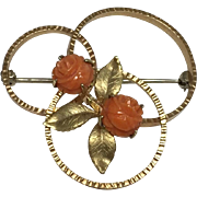 Krementz Double Rose Carved Coral Pin/Brooch
