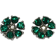 Vintage Signed BOGOFF Green Rhinestone Clip Earrings