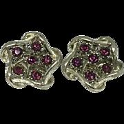 Coro Purple Rhinestone Clip Earrings