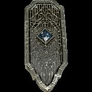 14k Art Deco Style Fur Clip w/ Aquamarine