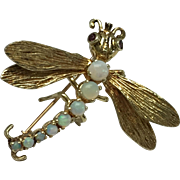 14k Detailed Opal & Ruby Dragonfly Pin/Brooch