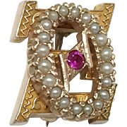 10k Theta Xi Fraternity Pin Seed Pearls Ruby