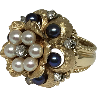 14k Tahitian & White Cultured Pearl With Diamond Floral Ring