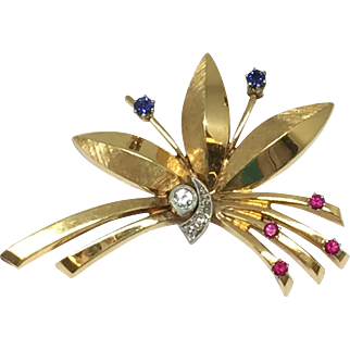 18k Leaf Design Diamond, Sapphire & Ruby Pin / Brooch